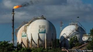 Gas tanks of Brazilian state-owned oil giant Petrobras on the Negro river, Manaus, Brazil