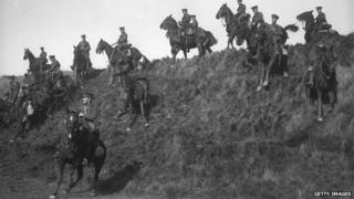 The Canadian cavalry undergo training at Shorncliffe during World War One
