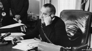 President Lyndon Baines Johnson on the phone on 1 January, 1965.