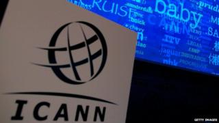 A photo of an Icann video display during a conference in London on 13 June, 2012