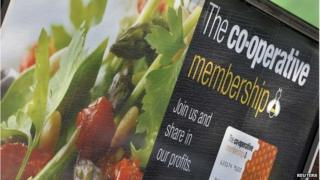 A sign outside a Co-operative retail store in east London, 10/0414