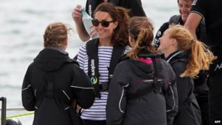 The Duchess of Cambridge before a yacht race in New Zealand on Friday