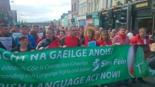 Irish language speaker protest