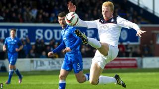 Mark Beck scores for Falkirk against Queen of the South