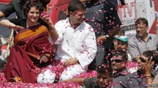 Rahul Gandhi with his sister Priyanka Gandhi in Amethi to file his nomination for the general elections in the northern Indian state of Uttar Pradesh, Saturday, April 12, 2014