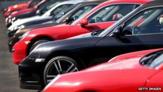 Porsches at a Miami car dealers