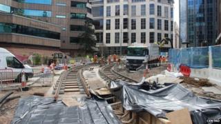 The tram works at Colmore Circus