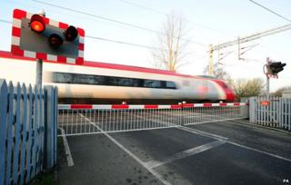 level crossing at Wedgwood train station in Stoke-on-Trent,