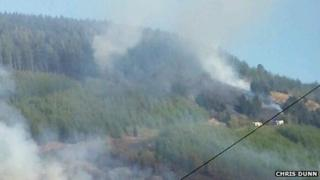 Fire on hillside at Ogmore Vale