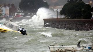Waves hitting Gorey