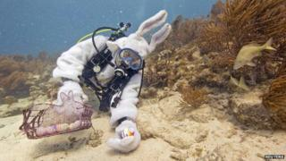 scuba-diving Easter bunny