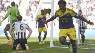 Wilfried Bony celebrates scoring Swansea's first goal