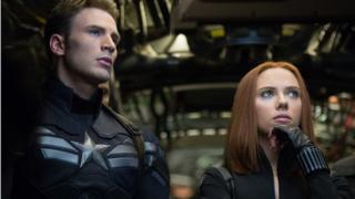 Chris Evans and Scarlett Johansson in Captain America