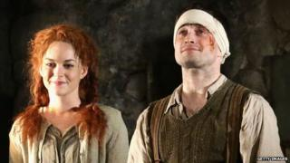 Daniel Radcliffe and Sarah Greene in The Cripple of Inishmaan