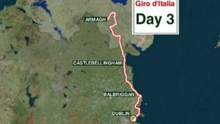 Map showing Giro d'Italia route from Armagh to Dublin on Day three of the prestigious cycle race