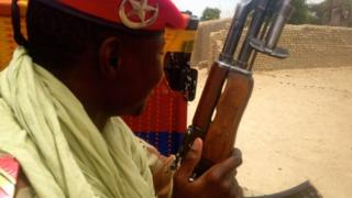 A member of Niger's National Guards on patrol along the border with Nigeria in Diffa region