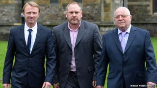 Three of the claimants (L-R) Nicholas Thomas, Rob Cooze and Mike Betson