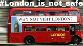 London bus with hashtag superimposed