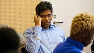 A file photo taken on 22 June, 2011 shows Singaporean, Wilson Raj Perumal, sitting in the Lapland district court in Rovaniemi, Finland