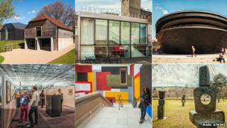 The nominees are (clockwise from top left): The Ditchling Museum, the Hayward Gallery, the Mary Rose Museum, Yorkshire Sculpture Park, Tate Britain and the Sainsbury Centre for Visual Arts