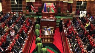Supreme Court judges file into parliament in April 2013