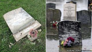 Two images illustrating damage to gravestones at Moorland church during and after the winter flooding