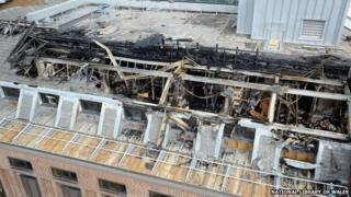 The damage to the roof of the National Library of Wales