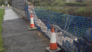 Site of wall crash