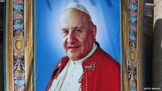 A tapestry depicting the late Pope John XXIII