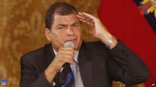 Ecuador's President Rafael Correa in a January 22, 2014, file photo.