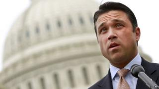 Representative Michael Grimm speaks at a news conference on Capitol Hill in Washington 9 May 2012