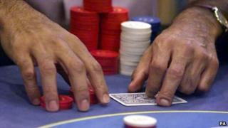 A poker player with chips
