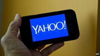 Yahoo logo on a smartphone screen