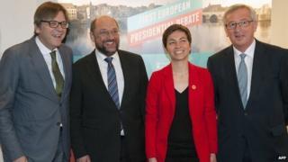 Rival candidates - from left, Guy Verhofstadt, Martin Schulz; Ska Keller; Jean-Claude Juncker