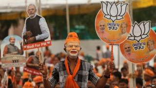 A Modi rally in Gujarat on 23 April 2014