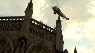 Helicopter above Wells Cathedral