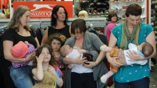 New mothers Lindsay Billsborrow, Ruth Knowles, Catherine Didit and Laura Armitage breastfeed their babies in Sports Direct