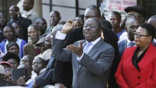 Morgan Tsvangirai, centre, addresses party members in Harare on 29 April 2014