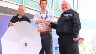 Jeff Binmore (Devon and Cornwall Police), Mark Parry (Project Development Officer for the Community Seagrass Initiative, National Marine Aquarium), Michael Clayton (Property Store Supervisor for Devon and Cornwall Police)
