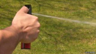 Pepper spray being sprayed
