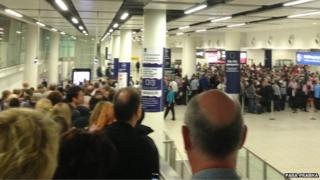 Immigration hall at Gatwick Airport