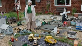 Pat Bullman in her miniature village