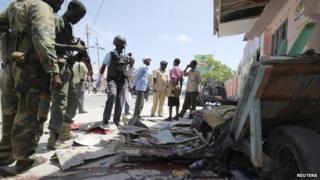 Blast site in Mogadishu, Somalia, 3 May