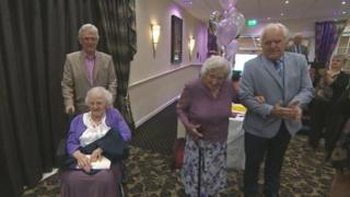 Doris and Freda Latham at their 100th birthday party