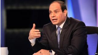 Former Egyptian army chief Abdul Fattah al-Sisi giving television interview