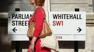 Pedestrian passes a Whitehall street sign