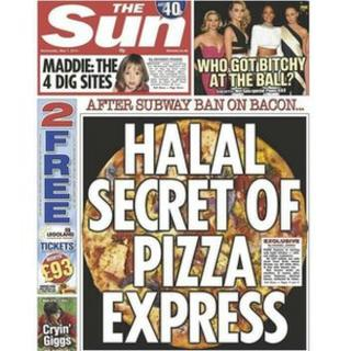 """The front cover of The Sun newspaper on 7 May 2015 with the headline """"Halal Secret of Pizza Express"""""""
