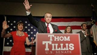 Thom Tillis appeared in Charlotte, North Carolina, on 6 May 2014