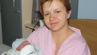 Ewelina Zimnicka with her newborn son Antoni