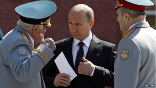 President Putin during a wreath-laying ceremony on the eve of Victory Day celebrations in Moscow- 8 May 2014